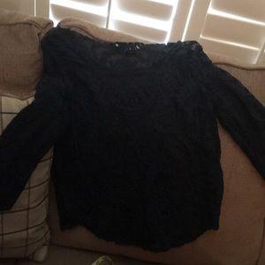 Ultra Flirt medium junior blouse NWOT black lace